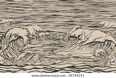Interference of water waves - stock vector