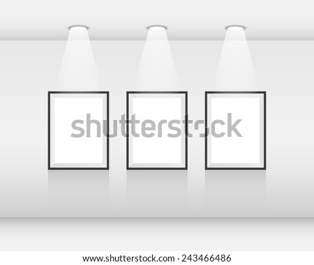Interior art gallery with frames and spotlights - stock vector