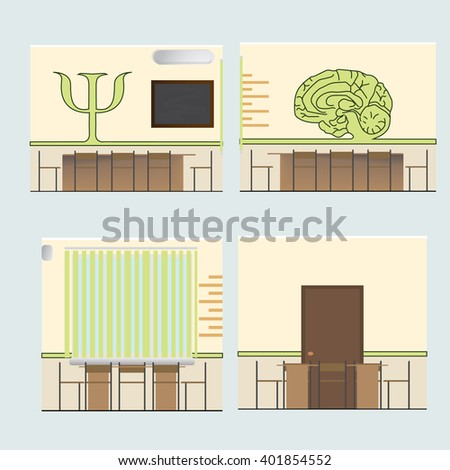 Interior audience psychology sweep walls. The letter psi and abstract brain. Rectangular table. Meeting room. Cabinet psychologist. Vector illustration. - stock vector
