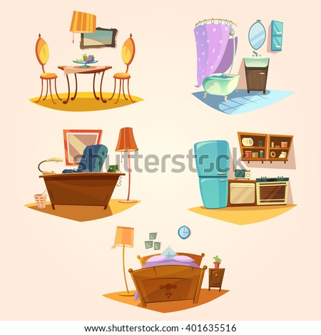 Interior cartoon retro set with vintage furniture isolated vector illustration - stock vector