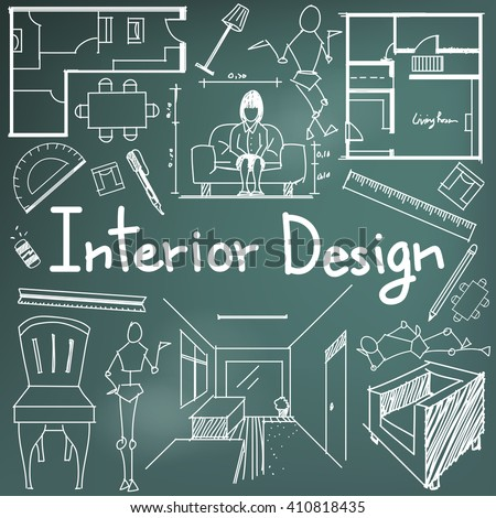 Interior design building blueprint profession education stock vector interior design and building blueprint profession and education handwriting doodle tool sign and symbol in background malvernweather Gallery