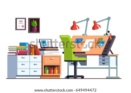 Interior Design Architect Or Designer Studio With Adjustable Drawing Desk,  Chair And Desk Drawers.