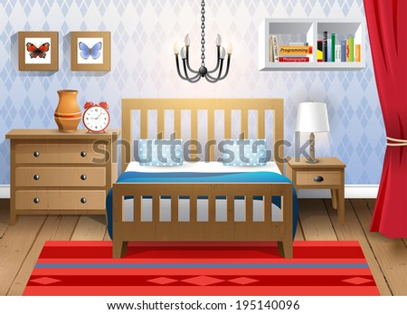 Interior design - big modern bedroom - stock vector