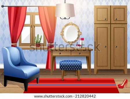Interior design - big modern living room - stock vector