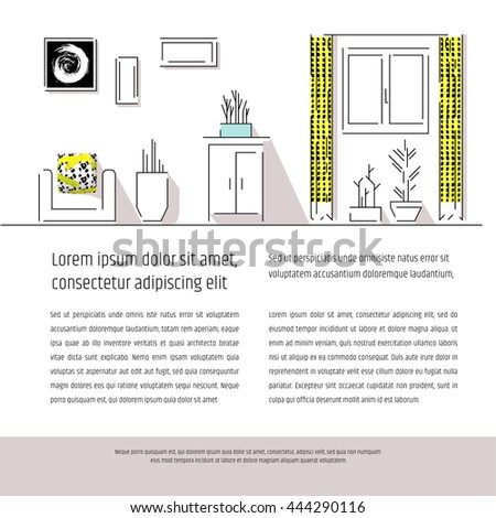 Interior design booklet cover. Magazine layout for apartment design infographics. Web template. Scandinavian style. - stock vector