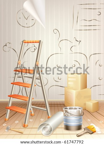 Interior design concept â?? room cluttered with building tools and a sketch drawn on the wall - stock vector