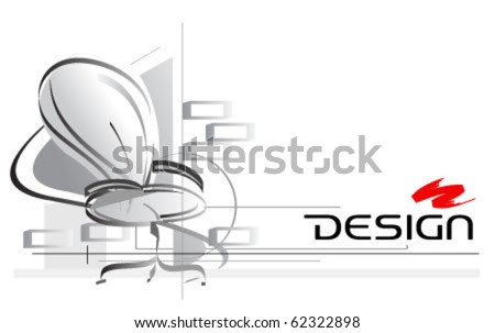 interior design drawing with office chair on foreground - stock vector