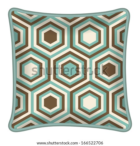 Interior design element: Decorative pillow with patterned pillowcase (abstract geometric pattern in mint and brown colors). Isolated on white. Vector illustration. - stock vector