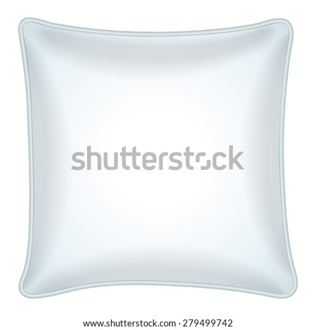 Interior design element - Decorative throw pillow with white pillowcase. Isolated on white. Vector illustration.