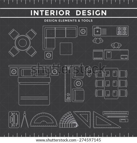 Interior Design Tools interior design elements equipment tools set stock vector
