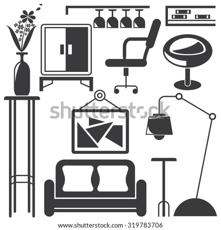 Symbols Appliances Furniture Home Stock Photos Images
