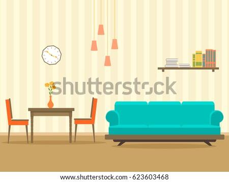 Interior Design Flat Style Living Room Stock Vector