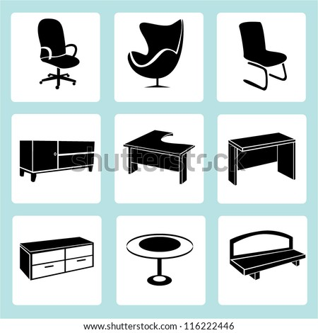 interior design, interior furniture set - stock vector