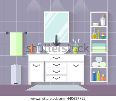 Interior design of a bathroom in a flat style. Vector illustration. Bathroom with sink, wardrobe accessories, towels, soap. - stock vector