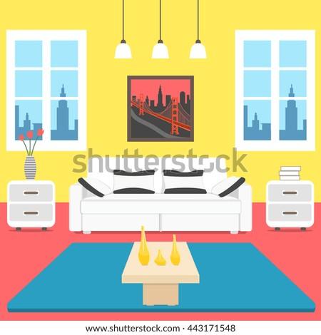 Interior Design Colorful Cartoon Living Room Stock Vector 443171548
