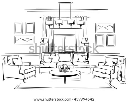 Interior Design Sketches Living Room interior design classic living room sofa stock vector 439994542