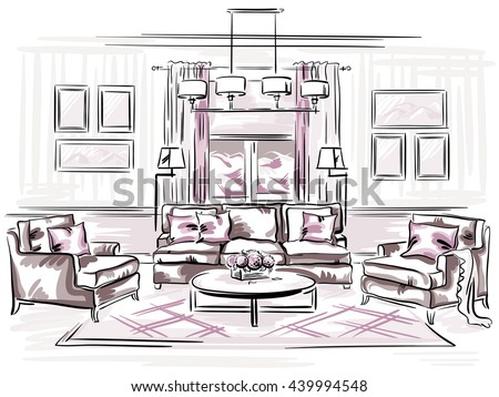 Interior Design Of The Classic Living Room With Sofa, Arm Chairs And Wall  Frames.