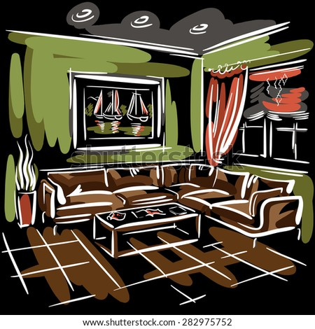 Interior design of the living room with big couch, red blinds, green walls and picture with sailboats. Hand drawn sketch. - stock vector