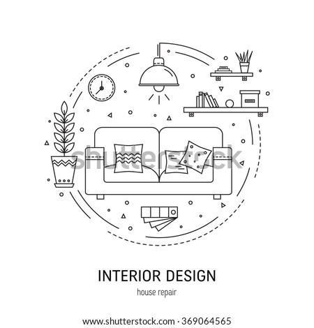 Interior Design Round Concept Made In Modern Line Style Living Room Vector Illustration Can