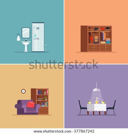 Interior Design Types. Vector Illustration Collection flat design - stock vector