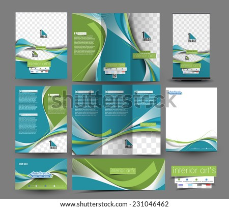 Interior Designer Business Stationery Set Template  - stock vector