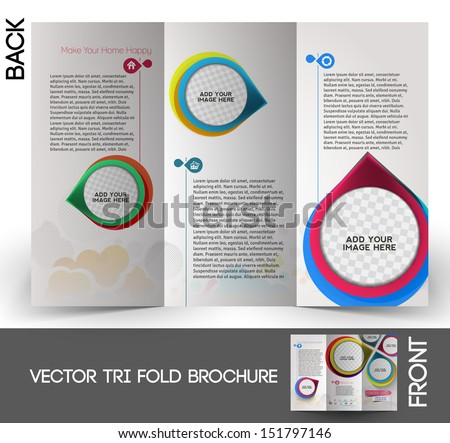Interior Designer Tri-Fold  Mock up & Brochure Design  - stock vector
