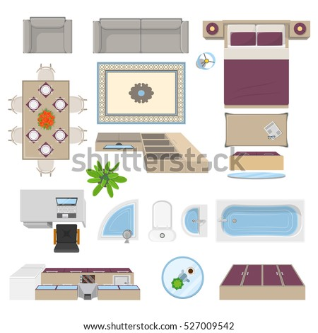 Interior Elements Top View Position With Kitchen Lounge Bathroom Bedroom Furniture Isolated Vector Illustration