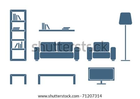 Interior furniture design icon â?? living room - stock vector