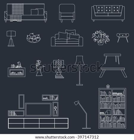 interior furniture, vector furniture, home furniture, sofa furniture, armchair furniture, room furniture, design furniture, set furniture, modern furniture, illustration furniture, house furniture,  - stock vector