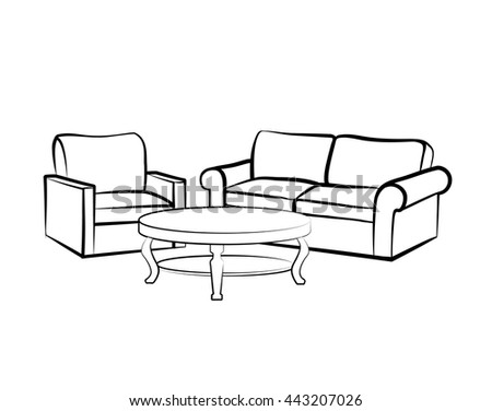 furniture set interior detail isolated watercolor stock