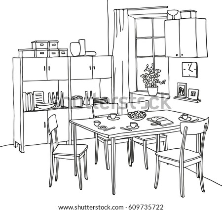 dining room graphic black white sketch stock vector 530866630