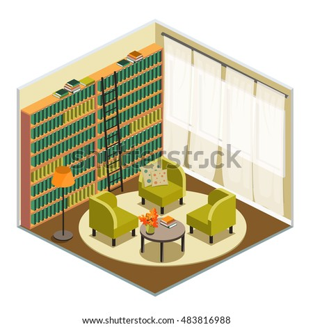 interior home library isometric view room stock vector 483816988