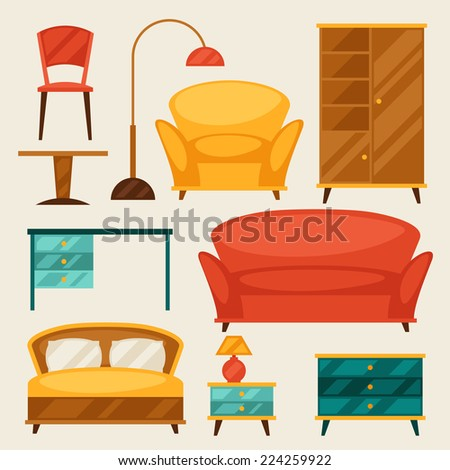 Interior icon set with furniture in retro style. - stock vector