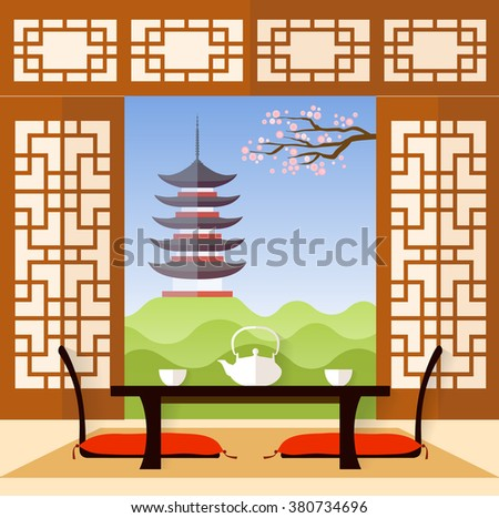 Interior in the Japanese style. living room in a flat style. Vector illustration. The room for the tea ceremony. - stock vector