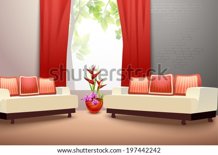 Interior indoor living room design with couch vase and window curtains vector illustration - stock vector