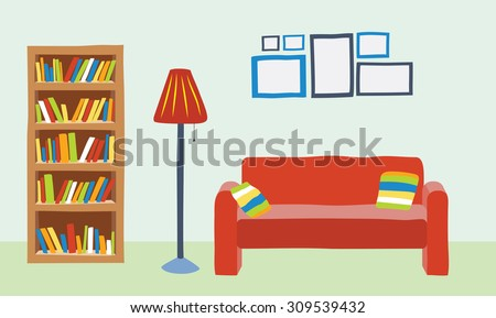 Superior Interior Living Room In Cartoon Style. Sofa, Bookcase And Lot Picture Frame  On The Part 16
