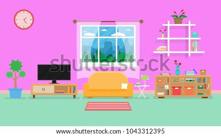 Interior Living Room Modern Cozy Luxury Stock Vector HD (Royalty ...