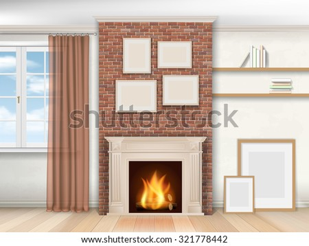 Interior living room with fireplace and window. Realistic vector illustration. - stock vector