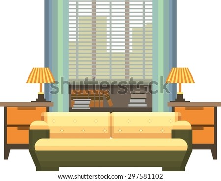 Interior living space bedroom with a bed near a window into a flat style on a white background - stock vector