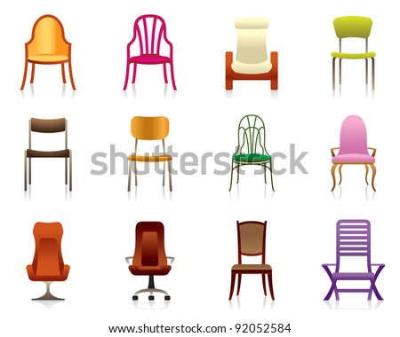 Interior, luxury, office, and plastic chairs - vector illustration - stock vector