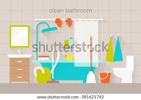 Interior Bathroom Household Cleaning Stuff Flat Stock Vector - Cleaning stuff for bathroom