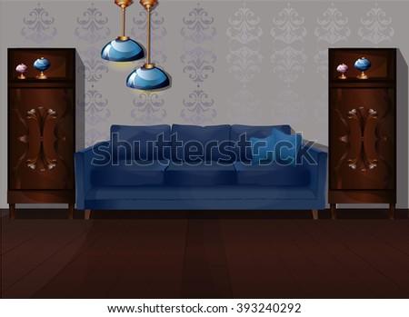 Interior of a living room. Modern flat design illustration.Vector modern interior - stock vector