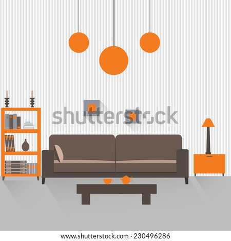 Interior of a living room with long shadows. Flat design illustration. EPS 10 vector file. - stock vector