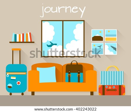 Interior of a living room with travel bags. Flat design illustration - stock vector