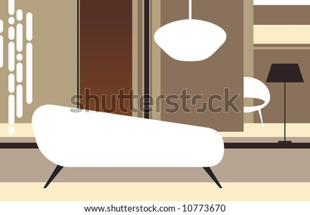 Interior of a room in retro style with a white sofa - stock vector