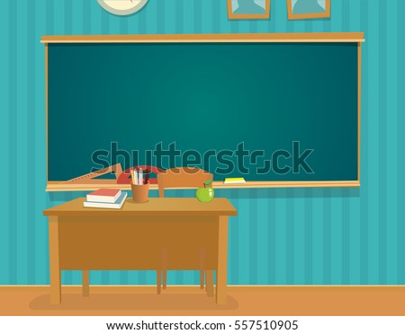 Interior classroom desk blackboard vector flat stock vector interior of classroom with desk and blackboard vector flat color illustration isolated publicscrutiny Choice Image