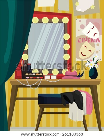 Interior Of Dressing Room With Mirror On Yellow Wall And Table Diverse Attributes