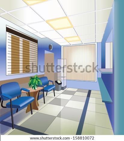 interior of hospital (vector illustration) - stock vector