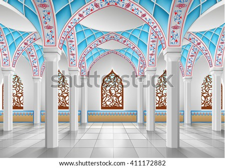 Interior of mosque three-dimensional vector illustration, EPS 10 contains transparency. - stock vector