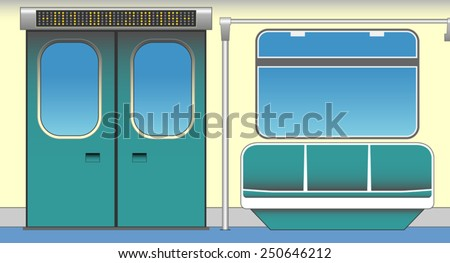 Interior of subway car. Vector illustration. EPS 10, opacity - stock vector